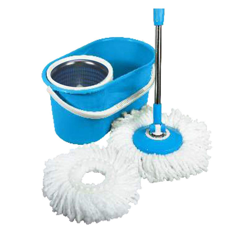 Paras Miracle Plastic Diamond Bucket Mop with Steel Jali Blue Ms17